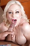 Golden-haired established Angelique DuBois exhibiting penetrated tit pointers although giving BJ