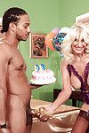 Blonde established in lacy underclothes Summeran Winters accepts a raw weenie for birthday