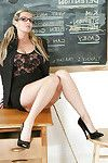 Curvy blond grown lass Jessica swelling her hairless cage of love in school