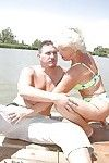 Titsy elderly with shaggy cage of love copulates a legal age teenager outdoor