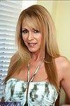 Breasty seasoned Nicole Moore flashing gazoo upskirt and striptease in nature\'s garb