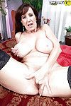 Buxom stocking garbed full-grown lady Cassie Cougar jacking off hirsute slit