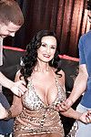 Chesty dark hair ripened Rita Daniels jolly ball cream on face in MMF Male+Male+Female