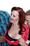 Overweight Euro full-grown Katherine Merlot enjoying interracial MMF Male+Male+Female love making act