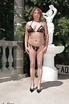Fatty full-grown takes off bikini outdoor to unveil her gazoo on high heels