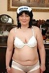 Fatty older ravishing off her underclothes and posing in white