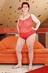 Fatty redhead older with gigantic limber scoops delightful off her sexy pants