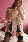 Slimy melodious princess Abigail Fraser striptease and teasing her cum-hole in the ottoman