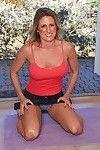 Freckled mature woman Jade Jamison erotic dance off denim short skirt and panties