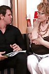 Glasses adorned melodious Euro broad giving bj and pleasant jizz flow on snatch