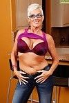 Glasses clothes established fairy lady Lexy Cougar baring heavy billibongs in denim jeans