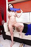 Lascivious mellow lady with round jugs undressing and vibing her bawdy cleft