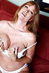 Sweaty calm bombshell Darla teases with her vast front bumpers in white underclothes