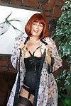 Moist redhead full-grown mamma Miss Abigail shows as was born wazoo hulking legs in underware