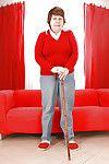 Lecherous mature with tough flaccid jugs erotic dancing and exposing her uterus
