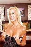 Leggy ripened blondes Debi Diamond and Erica Lauren undress down to sexy pants