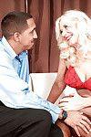 Lovesome adult in red strings Summeran Winters giving a vehement fellatio