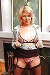 Horny mature in  acquires rid of her formal clothing and unveils her love melons