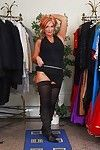 Lascivious aged in nylons Joanna Depp uncovering her fuckable body