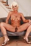 Lusty golden-haired ripened on high heels erotic dancing off her want costume