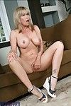 Ripe blond Bridgette Monroe caressing milk sacks and jerking off