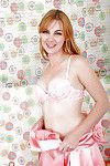 Ripe broad Marie McCray sliding upskirt underwear aside to reveal skinhead slit