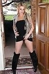 Seasoned Euro lady Crystal Forrester baring giant scones in high heeled boots