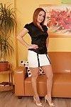 Seasoned Euro lady Jessica Red exposing huge average scones in high heels