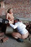 Grown European pornstar in boots giving hardcore oral-stimulation servitude outdoors