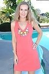 Mellow lady Sara James revealing shiny on top love-cage outdoors by swimming pool