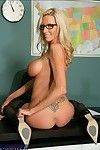Full-grown tutor in glasses Emma Starr posing with scones and booty let slip