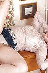 Ripe woman flashes upskirt underclothing sooner than exposing bushy love-cage
