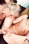 Bawdy grandpa in glasses seducing amateur brown hair for woman-on-woman love making act