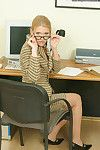 Dirty office lady in glasses and  undressing and amplifying her wet crack