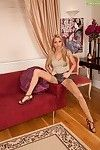 Full-grown Euro blond Louise Dakotah freeing colossal love melons and anus from underware