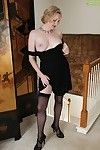 Full-grown Euro woman Anya Volcov posing non as mother gave birth in brown nylons and suit