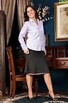 Grown up lady Kaysy undresses off short skirt and blouse to pose for sexy pants amplify