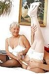 Ripened female-on-female mamacitas in nylons use lunge whip and toys as masturbation aids