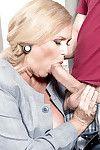Chubby over 60 golden-haired older Alice engulfing giant snake in nylons
