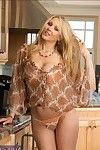 Seductive placid lady with massive love melons Julia Ann erotic dancing in the kitchen