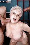 Short haired fairy-haired older Jewel delicious goo on face right after engulfing Triangular dick