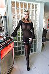 Stocking clothing seasoned housewife Sandra Otterson strutting for hotty pics