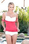 Anilos cougar tanya tate takes off her boob coverer and underclothing outdoors next to the pool